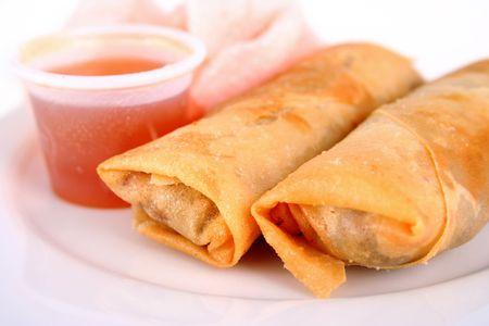 Spring rolls and dipping sauce photo