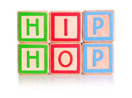 Childrens toy blocks spelling hip hop with clipping path Stock Photo