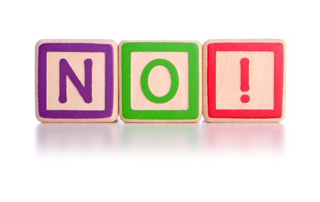 defiant: No spelt with childrens toy blocks with clipping path Stock Photo