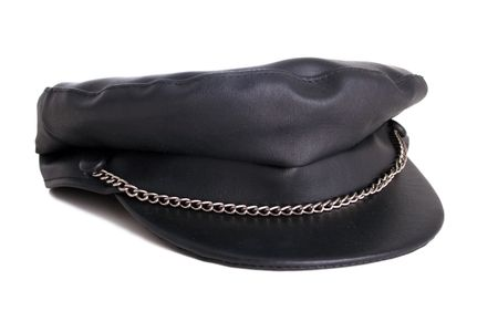 An isolated black leather with chain that looks oh so y - provided with FREE clipping path