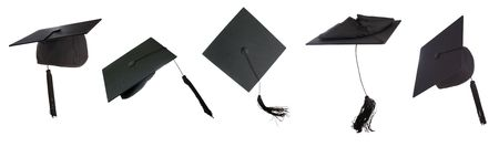 doctorate: Tossing of 5 mortar boards  -clipping paths individually or all together