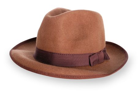 A classic mens brown hat with clipping path (no drop shadow)