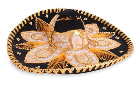 An isolated black sombrero with a lot of detail - has clipping path