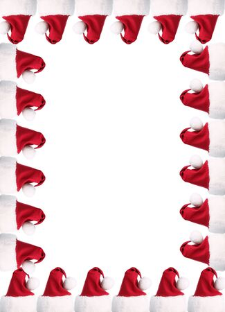 A4 red and white santa hat border with clipping paths for individual sides and the whole thing photo