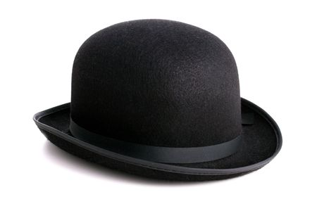 A stylish black bowler hat - ioslated with clipping path