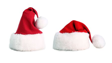 Two santa hat isolated with average clipping path