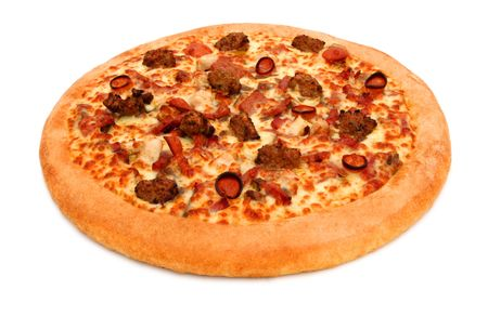 pan: A deep pan pizza isolated on white with clipping path Stock Photo