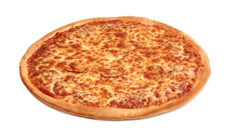 A thin pan pizza isolated on white with clipping path photo