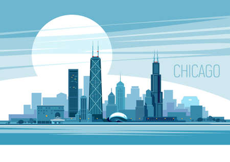 Vector illustration of Chicago City 스톡 콘텐츠