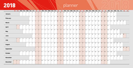 Yearly wall planner for the 2018 year. Dark red color code Çizim