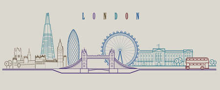 London skyline. Outline graphic illustration.