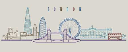 ロンドンのスカイライン。ベクターの背景。アウトライン グラフィックの図 写真素材 - 97530459