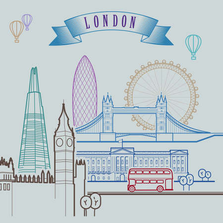 ロンドンのスカイライン。背景。アウトライン グラフィック図。