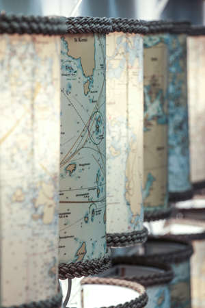 Vintage map turned into lamp photophore with rope at both ends Banque d'images - 103910018