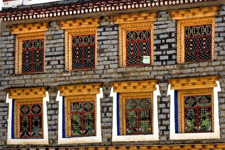 tibetan house: Windows of Tibetan folk house in China