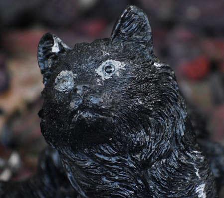 Black Cat Statue In Garden Stock Photo   93160934