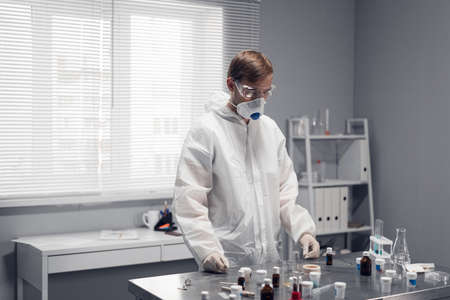 Experimental scientist in a lab. Development and scientific research.