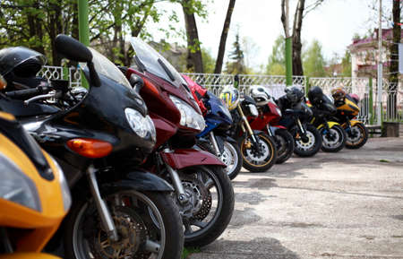 Parking sport motorcycles