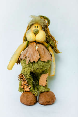Beautiful toy rabbit. Old hand-made souvenirs