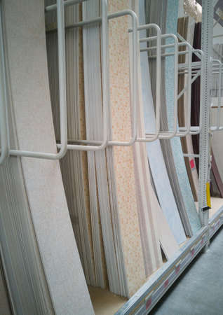 Sale of PVC panels in the hypermarket.