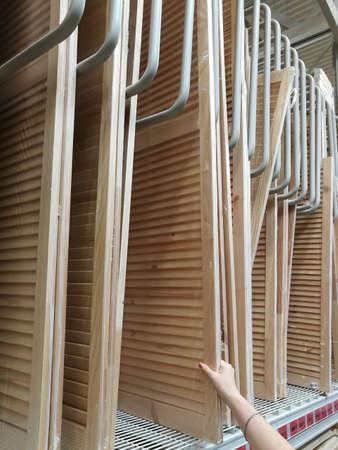Wooden screens for interior design in hypermarke
