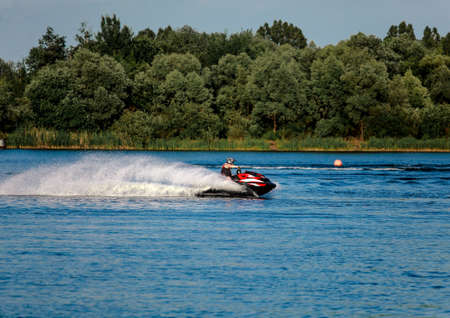 06 28 2019 Russia, Byansk. High-speed turn of the jet ski during the lap in training.
