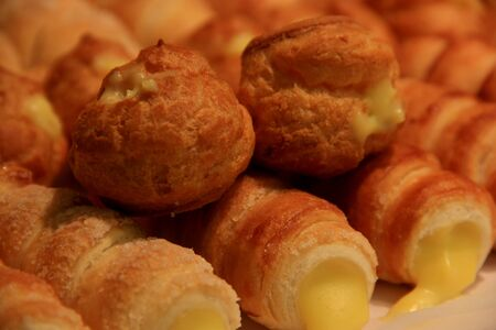 cannoli pastry: Cannoli are Sicilian pastry desserts with the cream inside Stock Photo