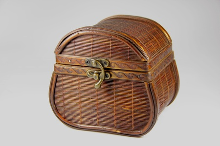 The treasure box of wood with metal closure photo