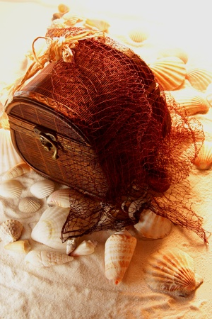 The treasure at the bottom of the sea caught in the net photo