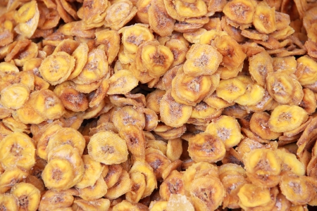 A close up view of dehydrated bananas Stock Photo