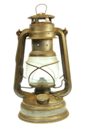 A Old petrol lamp with white background photo