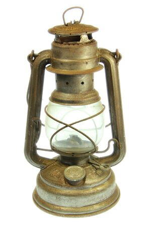 oil lamp: A Old petrol lamp with white background