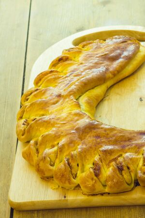 stracchino: Focaccia stuffed with bacon stracchino cheese