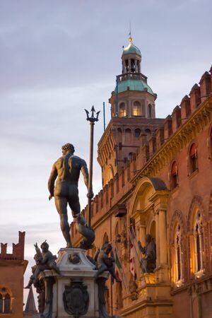 architectural studies: Neptune fountain in  Bologna Italy