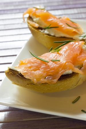 A plate of tarts with smoked salmon