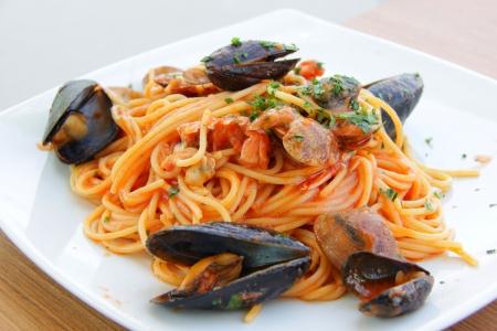 Spaghetti frutti di mare Archivio Fotografico