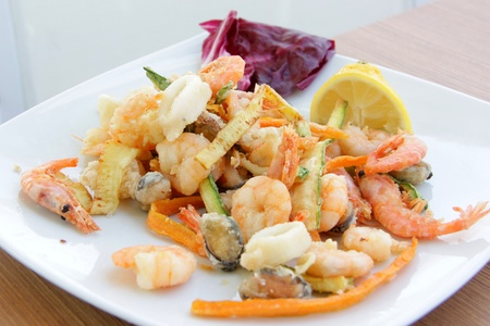 Fried mixed seafood photo