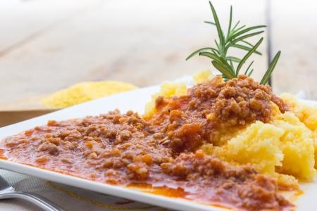 Polenta con salsa boloñesa Foto de archivo - 18644434