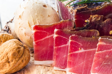 speck: Tasty slices of Italian speck with rosemary