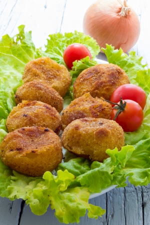 Home made onion croquettes photo
