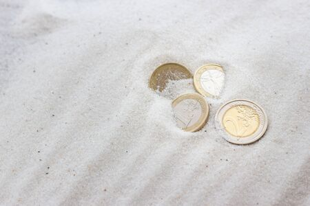 lost money: Lost money in the beach