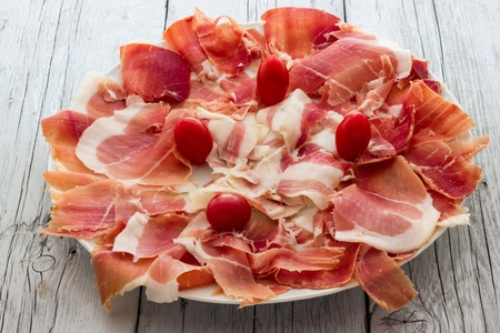 Real pork ham from Italy Bologna photo