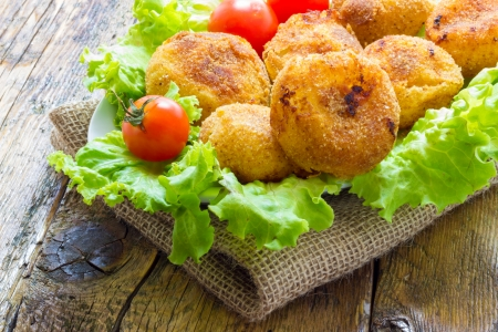Home made onion croquettes