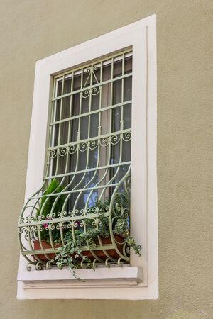 window grill: Windows with iron bars  Stock Photo