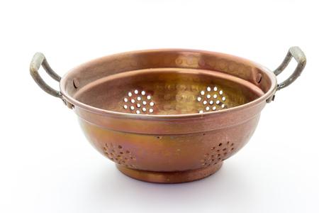 pot hole: old copper colander