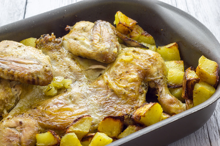 baked chicken: Baked chicken with potatoes