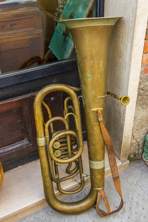 Old trombone Stock Photo
