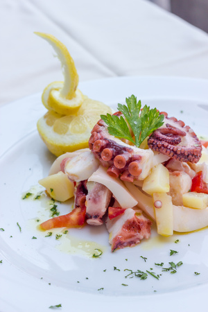 cuttlefish: Appetizer of cuttlefish octopus and potatoes