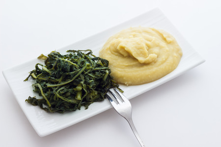 pureed: Mashed fava beans with chicory