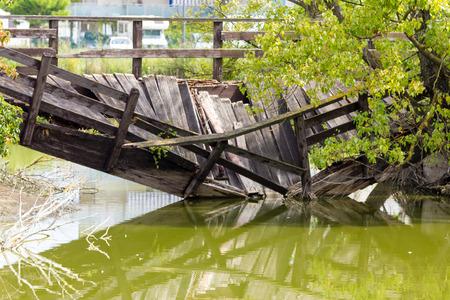 collapsed: Wooden bridge collapsed